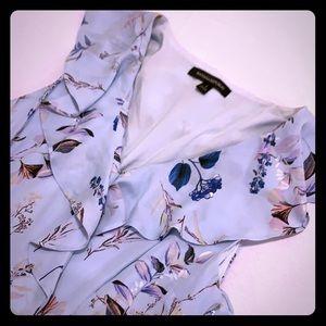 BANANA REPUBLIC LIGHT BLUE FLORAL WRAP DRESS